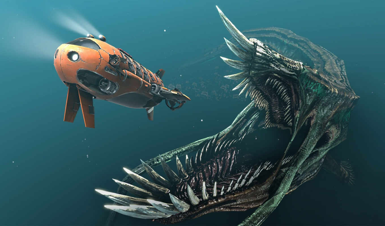 monster, sea, chasing, submarine,
