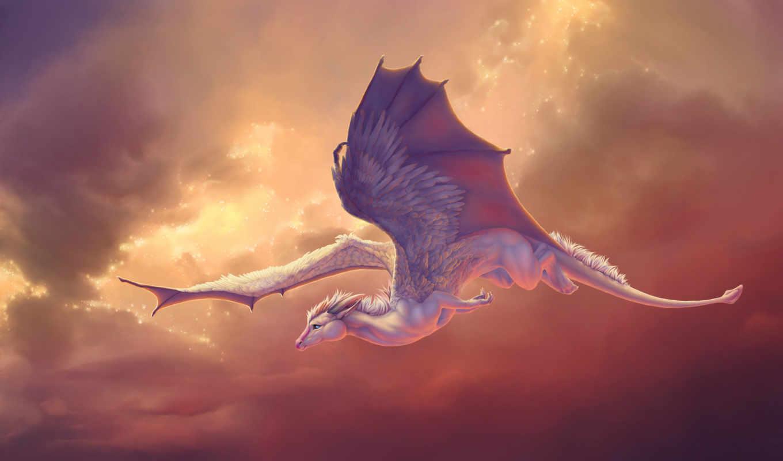 полет, существо, арт, небе, novawuff, крылья, картинка, картинку, fondos,