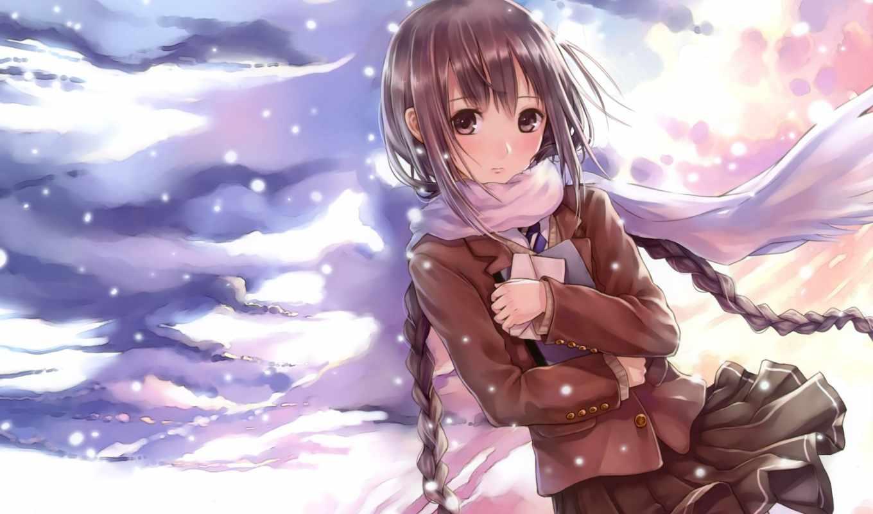 kina, аниме, kazuharu, original, часть, clouds, brown, school, twintails, sekai, shoujo, desktop, blush, braids, картинка, similar, eyes, hair, фотографии, зима, arisu, brunettes, uniforms, skies,