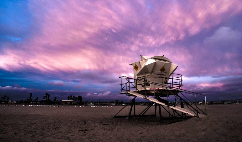 калифорния, пляж, картинка, закат, full,