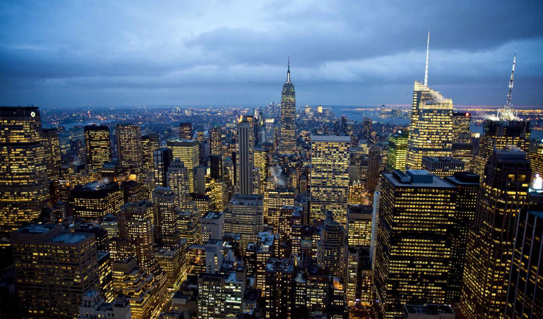 york, new, нью, город, огни,