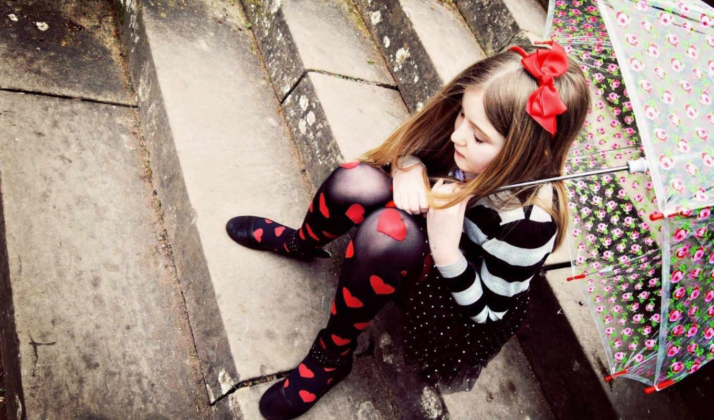 девушка, little, черви, children, ребенок, одинокий, настроение, грустный, love, нравится, зонтик,