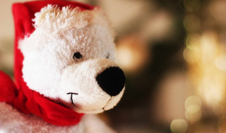 шапка, медведь, игрушка, санты, картинку, картинка, новый, год, мыши, кнопкой,