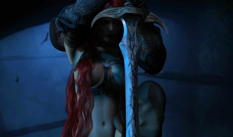 рендеринг, fantasy, красные, оружие, девушка, волосы, взгляд, меч, red, warriors, warrior, широкоформатные, graphics, girls, swords,