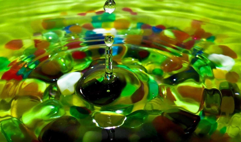 капля, вода, камушки, цветные, макро,
