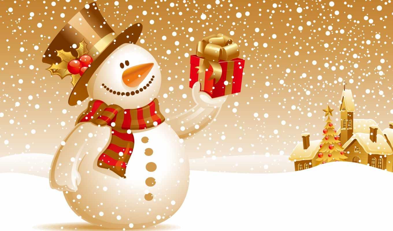 новогодние, год, новый, снеговик,
