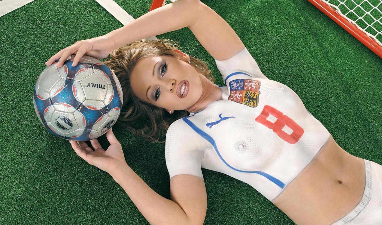 девушки, форме, разных, футболистки, разрешениях, девушка, лежит, дек, спортивной,