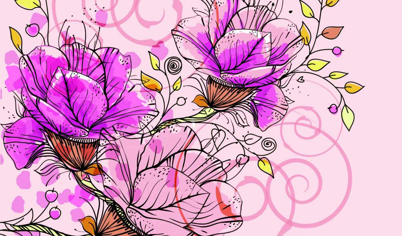 абстракция, цветы, рисунок,
