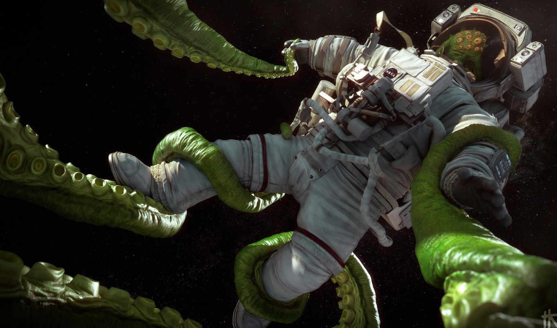 космонавт, art, космос, корабль, гитара, иллюминатор,