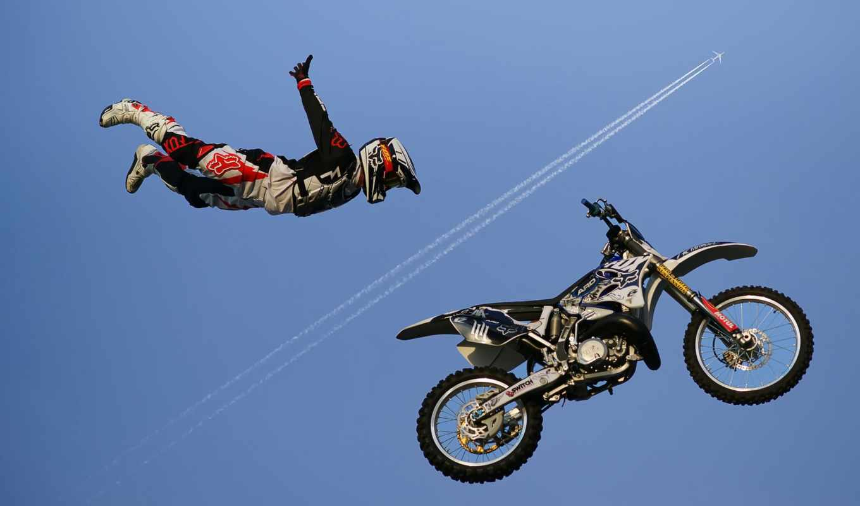 гонщик, мотоцикл, небо, спорт, экстрим, самолет, tapety, разделе,