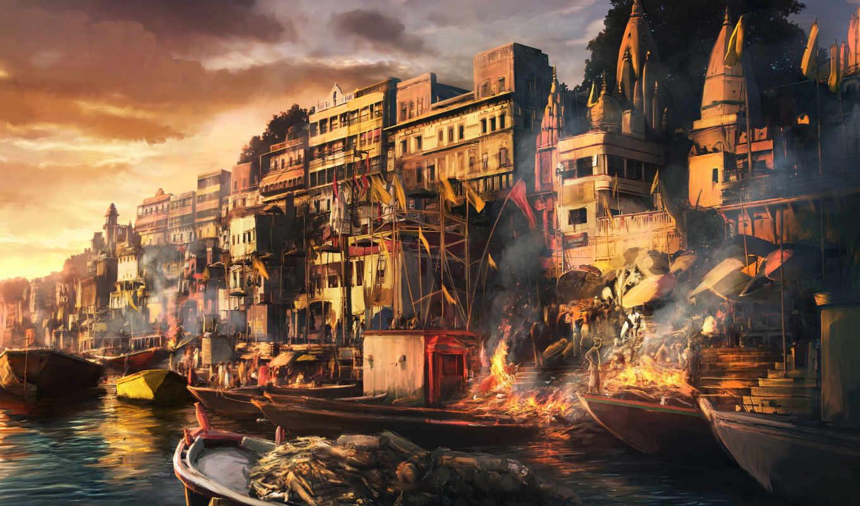 город, fantasy, огонь, ночь, рисунки, лодка,