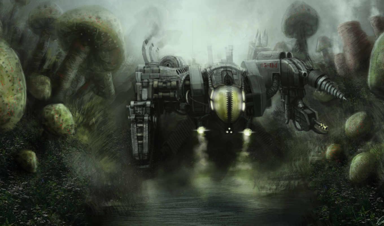 art, фантастический, мир, грибы, робот, машина, ар