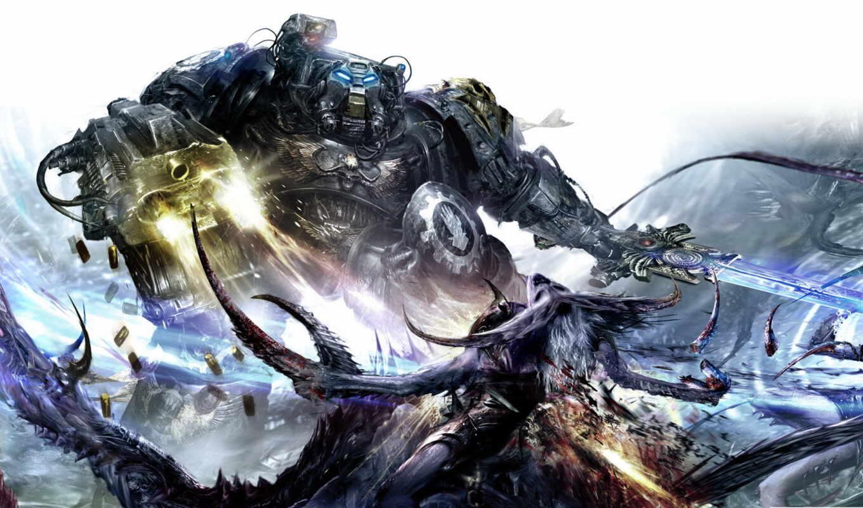 iron, warhammer, hands, демон, схватка, терминатор, слаанеш,