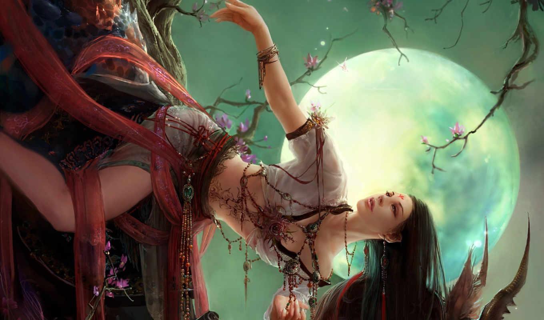 fantasy, girls, девушка, jhocy, Сакура, луна, фэнтези, девушки, art, desktop,