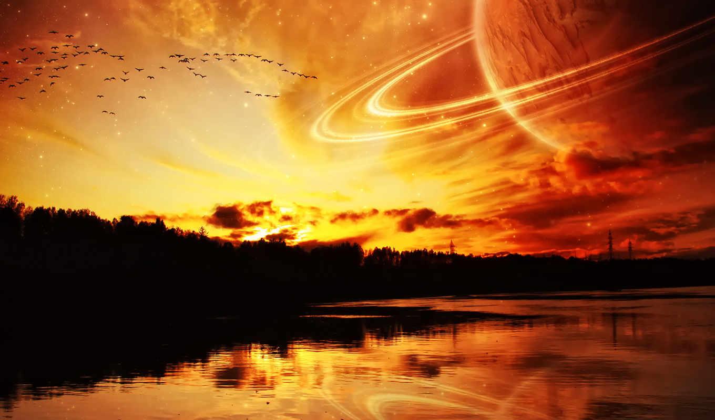kosmos, planeta, more, reka,