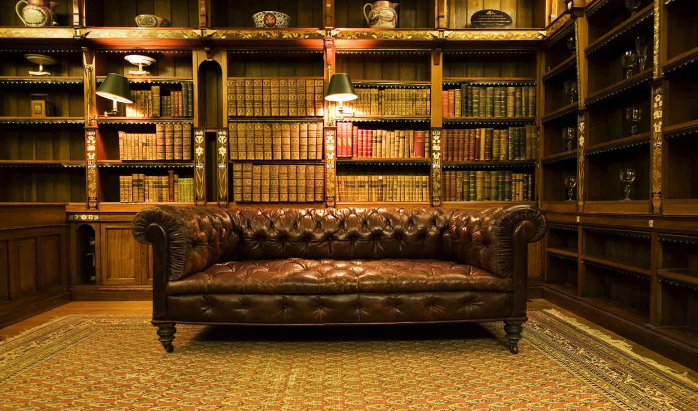 библиотека, книги, самые, качестве, диван,