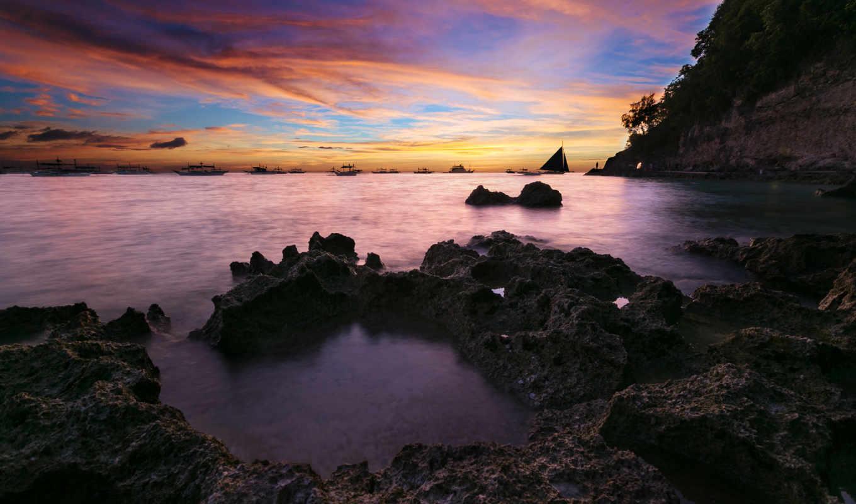 boracay, остров, закат, desktop, philippines, изображение, top,