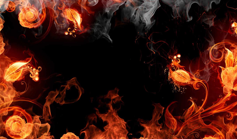 огонь, browse, цветы, black, red, yellow, оранжевый, пламя,