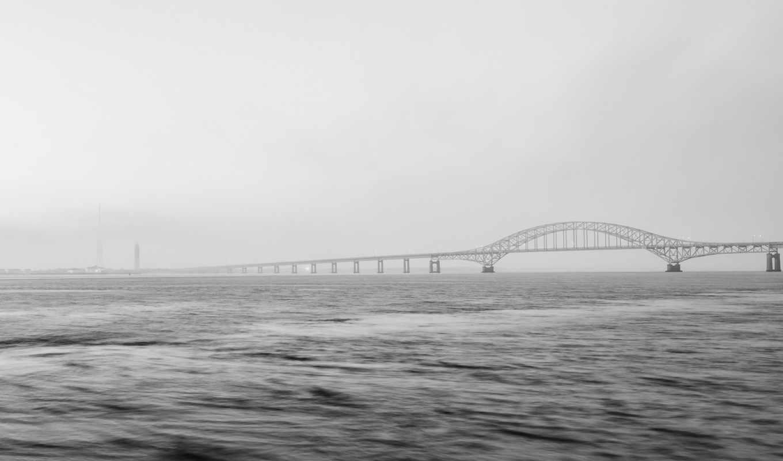 мост, туман, desktop, id, minimalismus, views, pacify,