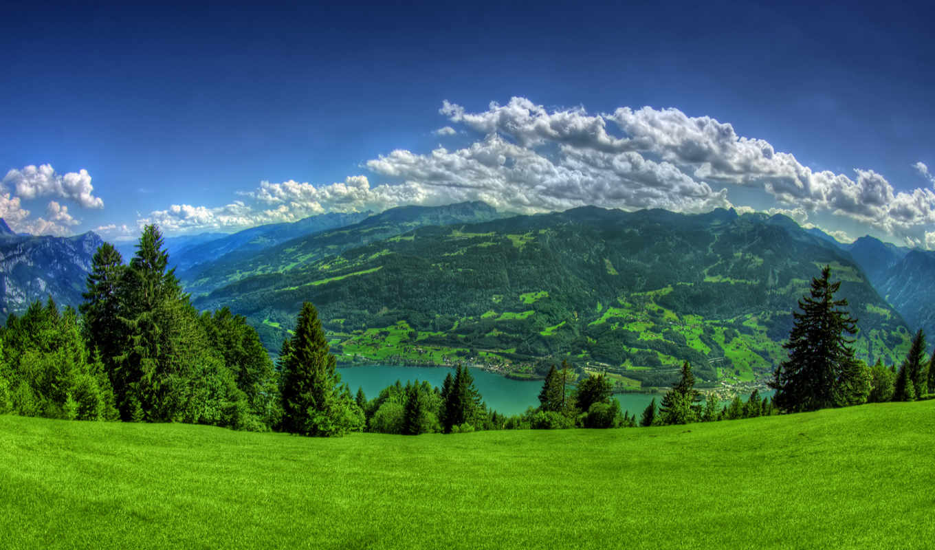 mountains, clouds, trees, lake, grass, green,