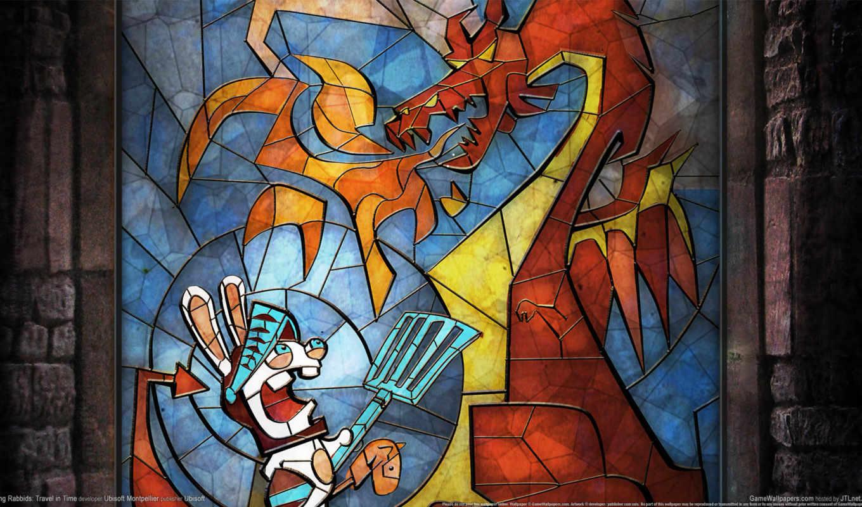 rabbids, raving, travel, time, игры, кролик, дракон, витраж, видео, game, компьютерные, во, времени, games,