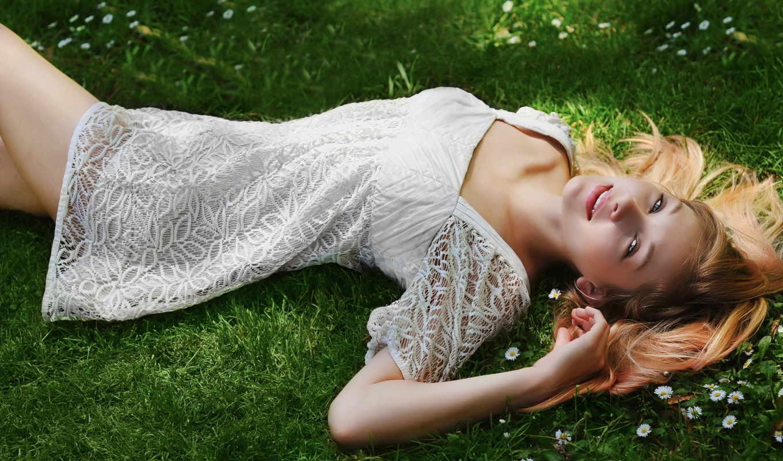 девушка, белом, платье, разных, траве,