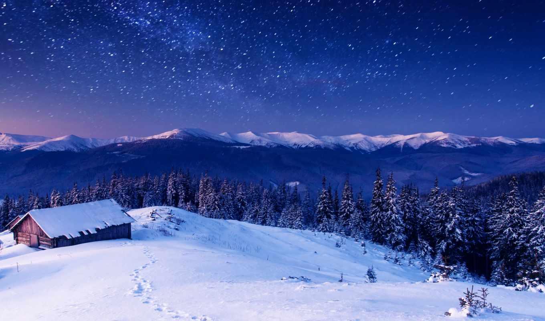 пейзажи -, ночь, рейтинг, горы, млечный, небо, лес, путь, star, house,