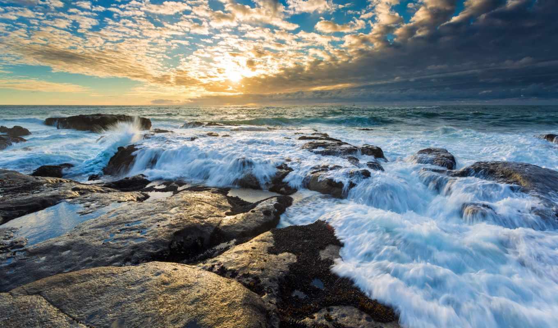 ,природа, sun, волны, rock, закат, пляж, море,