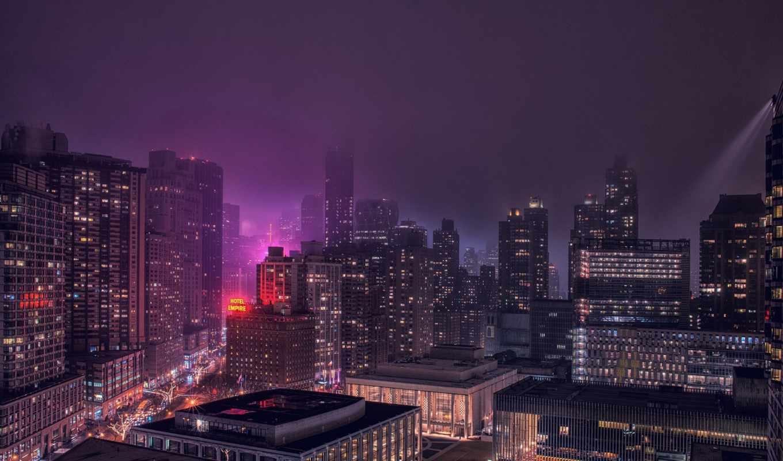 ночь, зонтик, мужчина, взгляд, города,