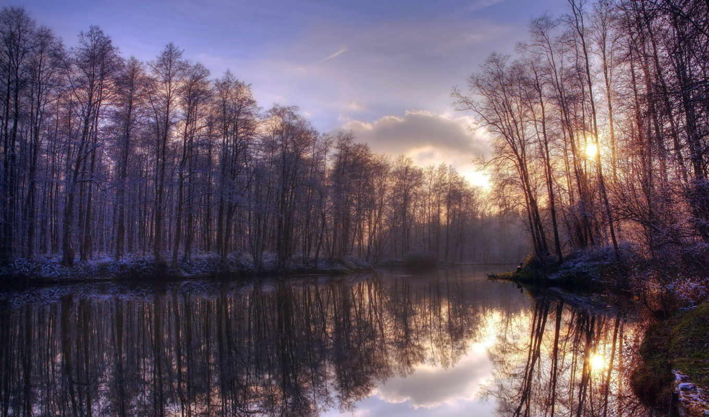 осень, закат, деревя, река, вечер, коллекция, небо,