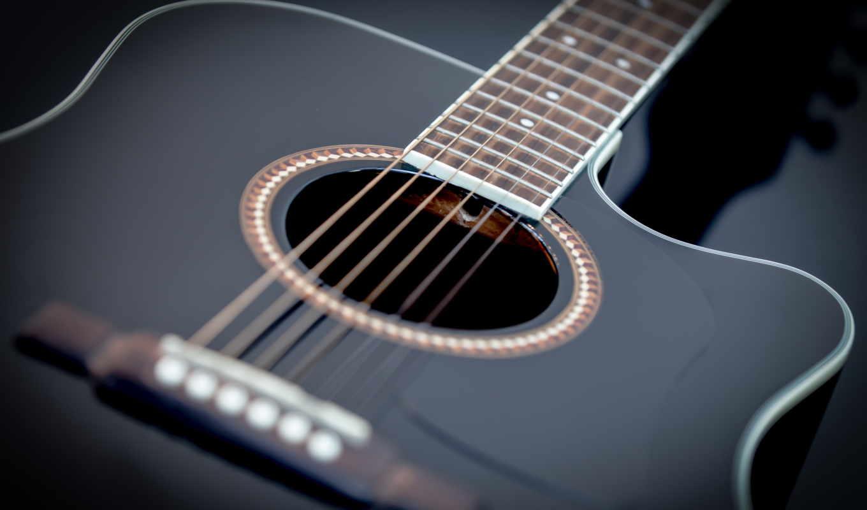 гитара, музыка, широкоформатные, макро,