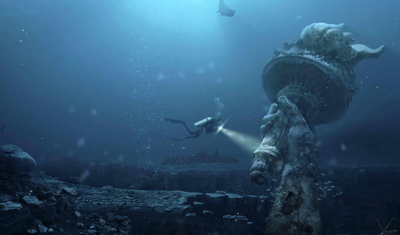 статуя, underwater, liberty, free, fantasy, download, dive, widescreen,