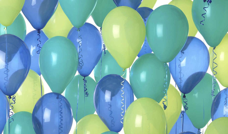 шары, голубые, зеленые,