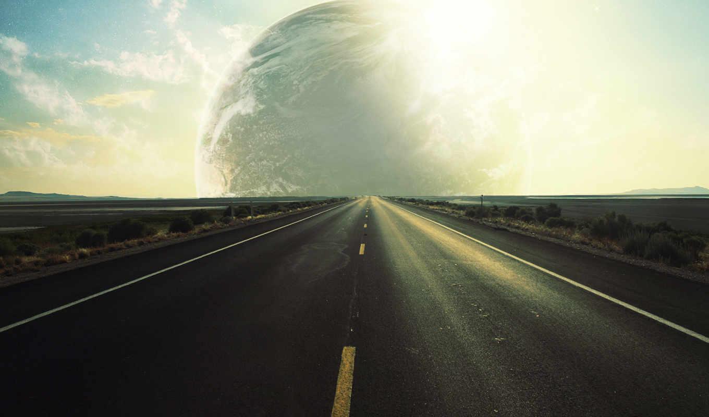 дорога, горизонт, planet, небо, зелёный,