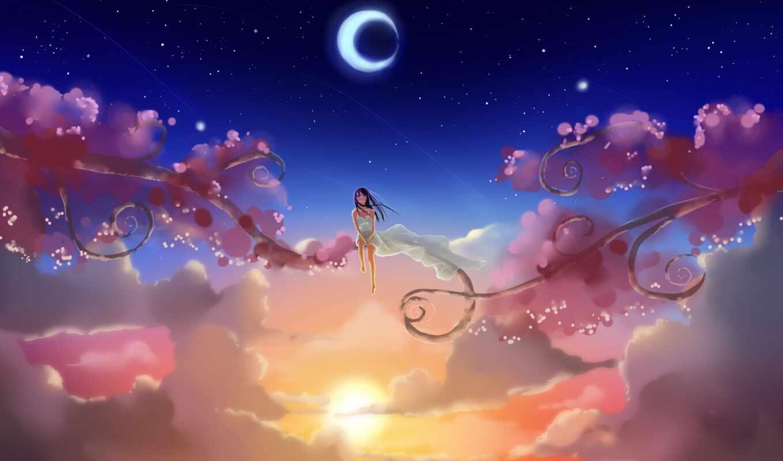 солнце, oblaka, звезды, месяц, devushka, noch, ветки, все,