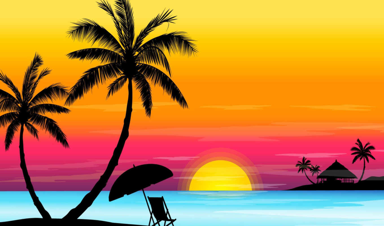 zakat, more, небо, palma, солнце, метки, отдых, priroda,