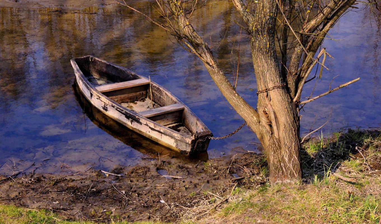 категория, река, совершенно, лодка, дерево, природа, места, красивые, картинка, капельки,