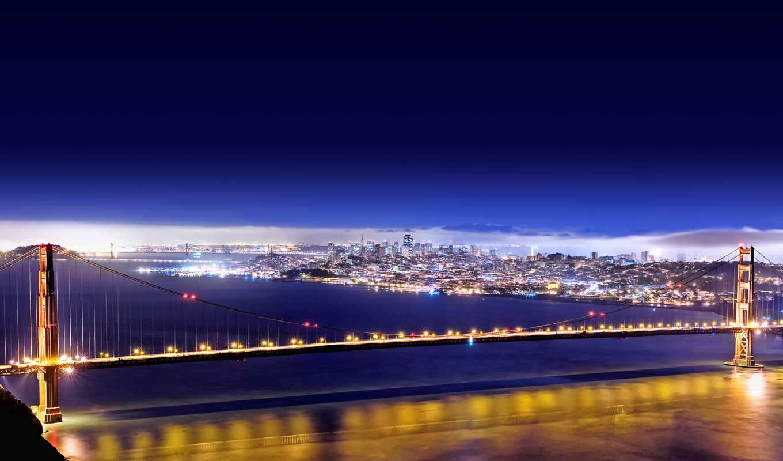 мост, город, золотистый, francisco, san, огни, ночь,