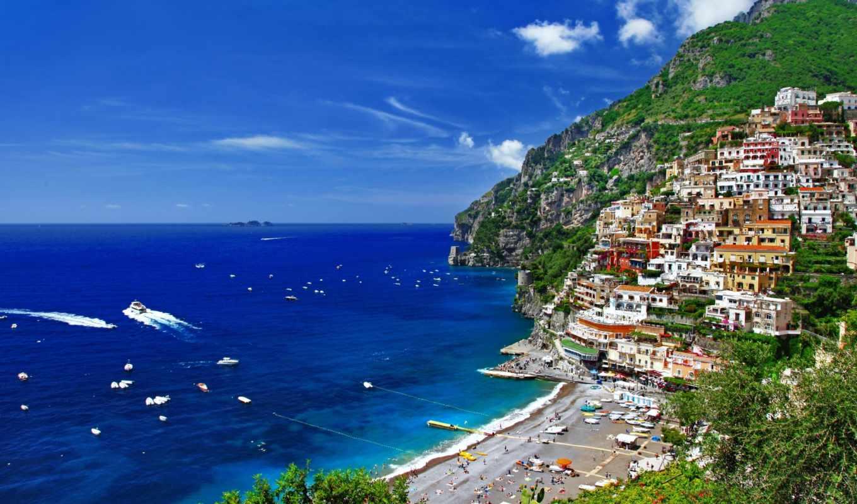 море, горы, природа, дома, trees, italy, italian, greek, небо,