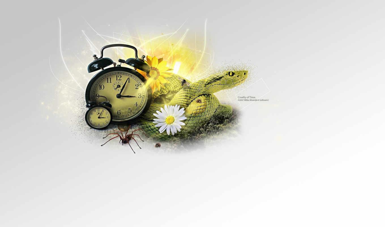 минимализм, змея, коллаж, часы, смотрите,