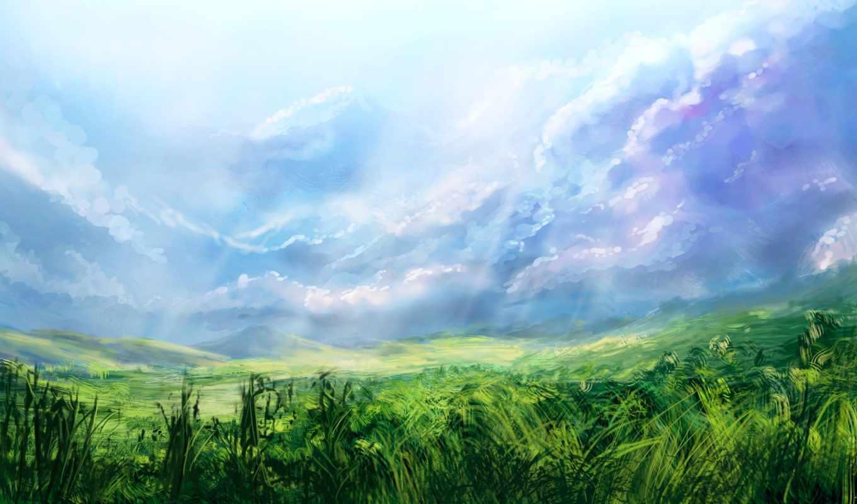 небо, трава, свет, поле, devart, alexlinde, картинку,