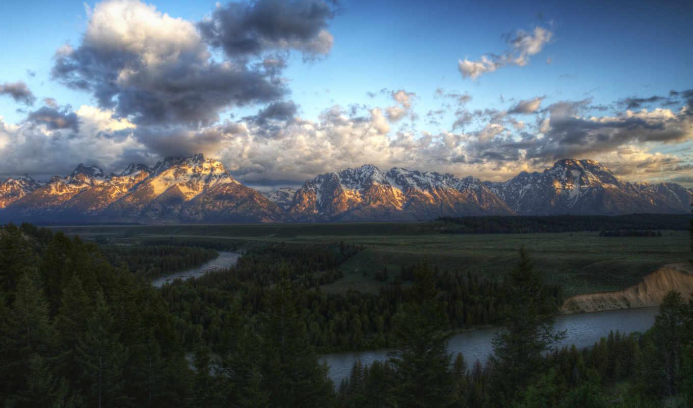 grand, teton, priroda, река, park, national, snake, reki, восход, солнце,