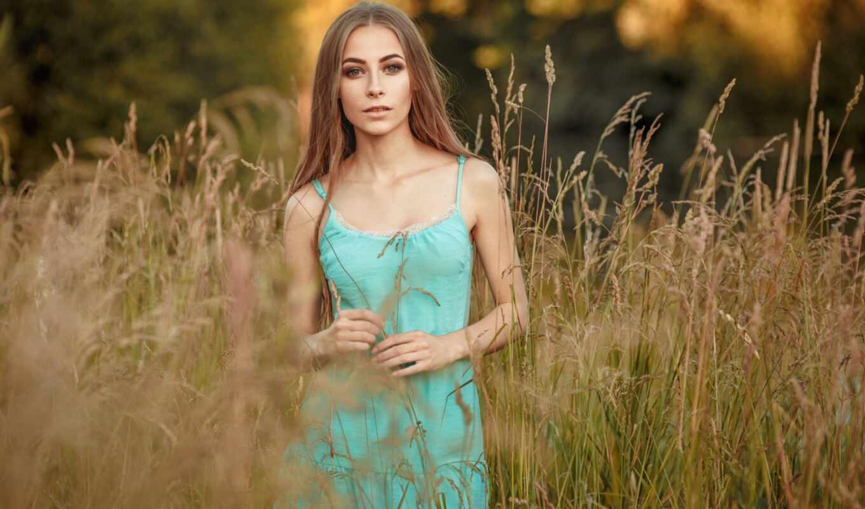 природа, девушка, смотреть, глаза, настроение, лицо, трава, summer, улыбка