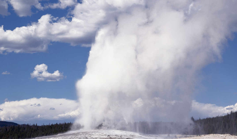 national, park, geyser, wyoming, faithful, гейзер,