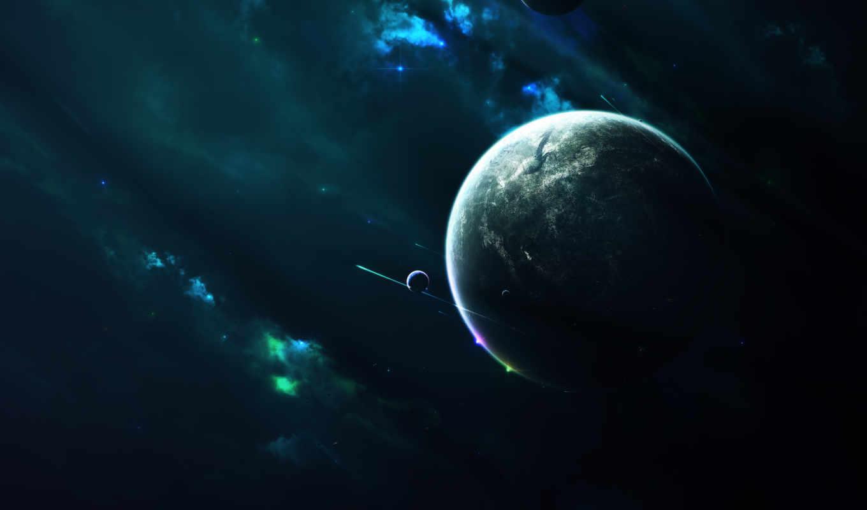 звезды, туманность, планета, свет, спутники, картинка, космос, картинку, кнопкой,