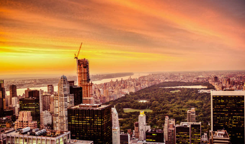 new, york, город, skyline, закат, нью, центральный, park,