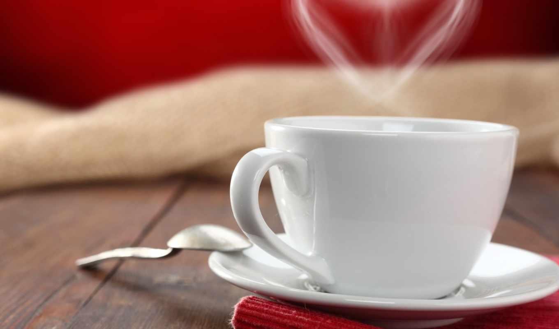 чашка, сердце, ложка, блюдце, салфетка, стол, древесина