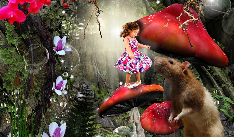 лес, mushroom, enchanted, фея, fantasy,