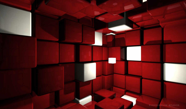 кубики, красный, cubes, cube, room, desktop, смотрите,