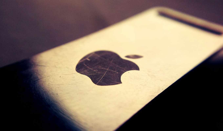 apple, iphone, ipad, логотип, макро, царапина